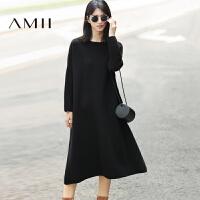 【AMII 超级品牌日】AMII[极简主义]冬宽松落肩袖纯色腈棉长款针织连衣裙11684217