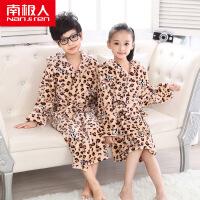 南极人儿童睡衣睡袍 男女童法兰绒浴袍 长袖睡衣家居服保暖内衣