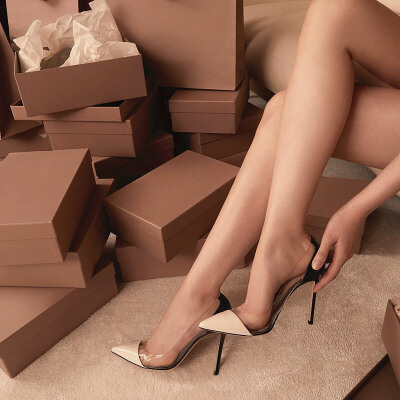 2019春新款尖头透明高跟鞋10cm裸色单鞋百搭性感细跟浅口拼色女鞋 前裸+黑色 漆皮10cm