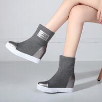 娜箐箐冬新款休闲圆头松糕厚底短靴女内增高真皮中筒靴女靴子