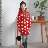 OP4096韩版童装女童中长款上衣百搭波点加厚毛衣连衣裙中大童裙