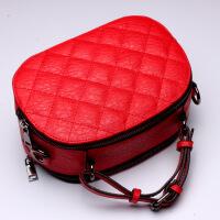 2018 新款欧美真皮女包菱格牛皮包包单肩包手提包箱包 大红色(L5053)