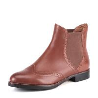 ST&SAT星期六专柜女靴牛皮英伦切尔西圆头复古鞋SS54112970