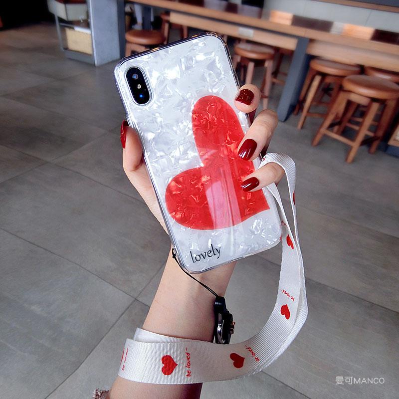 贝壳爱心挂绳苹果xs手机壳软硅胶8plus潮牌iphone7p6s新款女 6/6S 4.7寸 斜爱心