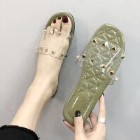 2019夏季新款透明塑料拖鞋时尚外穿平底防滑一字拖海边沙滩凉拖女