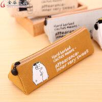 金谷小清新三角笔袋简约帆布笔盒可爱文具袋创意学生大容量铅笔袋