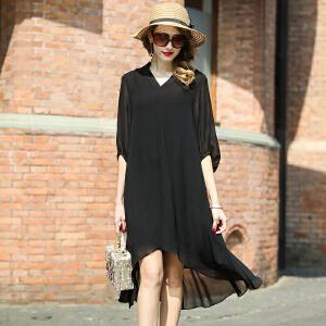 2017夏新款 宽松型 桑蚕丝 V领 不规则 黑色 中袖 真丝连衣裙