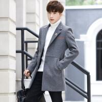 冬季风衣男韩版中长款加厚呢子外套修身休闲帅气学生毛呢大衣潮流