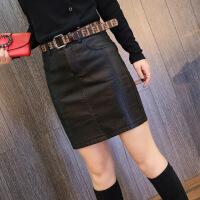皮裙女18秋冬新款韩版高腰显瘦PU皮短裙加绒加厚包臀裙半身裙短裙 黑色