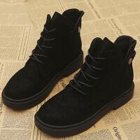 黑色马丁靴女英伦风短靴女春秋单靴绒面高帮潮鞋ins平底踝靴子 黑色 35 女款
