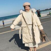 女中长款韩版宽松学生收腰大毛领棉袄外套面包服加厚 S 建议115斤以下