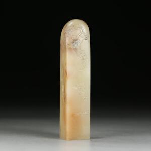 寿山老性芙蓉石 精雕腊雪寒梅薄意印章 jd1834