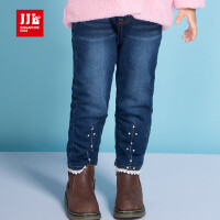 JJL KIDS/季季乐2017冬季新款女小童加绒牛仔裤