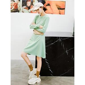 七格格长袖连衣裙秋装女2018新款圆领气质收腰显瘦中长款a字裙子