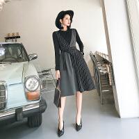 长袖针织连衣裙女2018新款小香风女神范衣服气质秋季套装裙两件套 深灰色