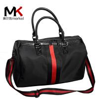 莫尔克(MERKEL)韩版条纹彩带时尚手提短途旅行包男女休闲健身包防水出差行李包