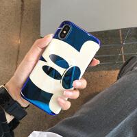 日韩卡通可爱米奇苹果x手机壳iPhone6splus/7蓝光硅胶潮牌女款8plus个性情侣创意网红款 苹果6/6s 蓝