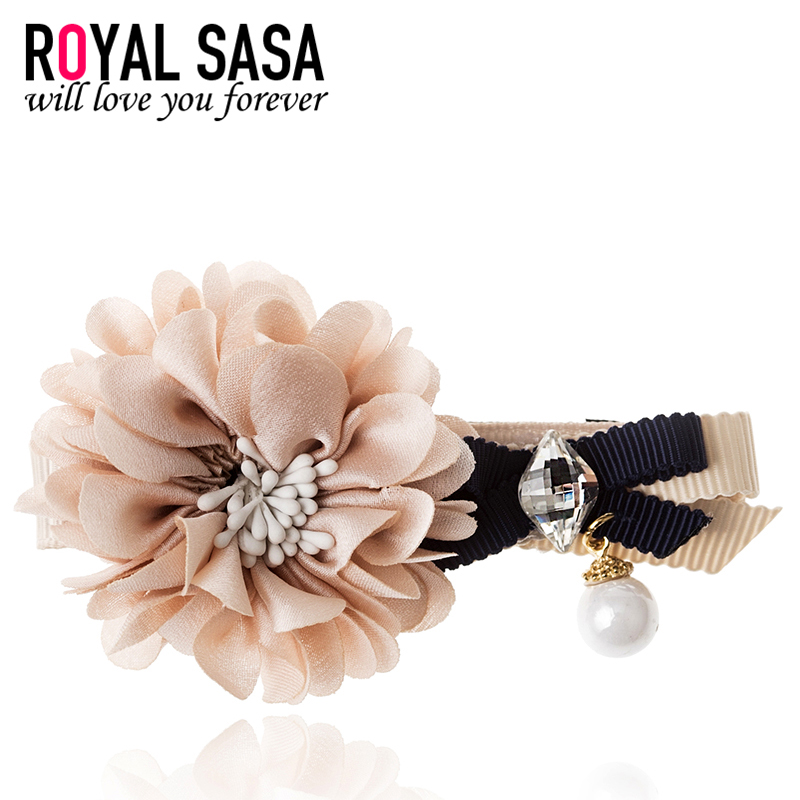 皇家莎莎RoyalSaSa韩国时尚发夹布艺花朵边夹子发饰发卡刘海夹一字夹头饰秋冬上新