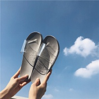 韩国透明拖鞋女夏chic原宿风室内外穿浴室洗澡水晶果冻鞋