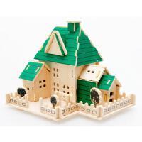 木丸子 木质拼图立体拼图3D立体拼图DIY模型图创意手工