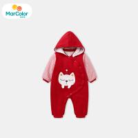 【1件4折】马卡乐女宝宝连体服女童长袖夹棉立绒可爱小猫219年冬季新款
