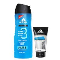 阿迪达斯 运动后舒缓洗沐合一套装400ml+送50g男士泡沫洁面乳
