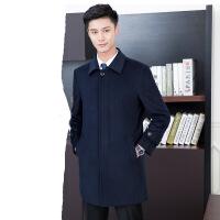 秋冬季男女同款风衣中长款韩版新款修身显瘦加绒加厚毛呢呢子大衣 藏青色 S