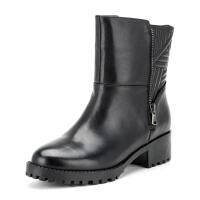 菲伯丽尔Fondberyl牛皮圆头低跟拉链金属深口女鞋FB54113537