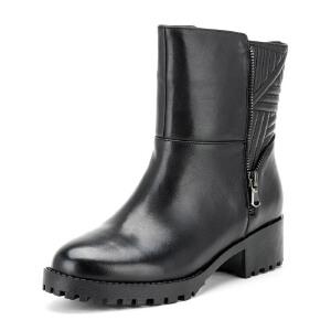 【星期六集团大牌日】菲伯丽尔Fondberyl牛皮圆头低跟拉链金属深口女鞋FB54113537
