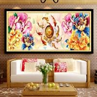 客厅大幅九鱼聚福图钻石画十字绣沙发背景满钻古典花开富贵贴砖画