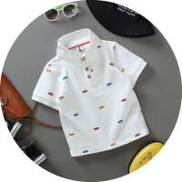 夏装男童短袖T恤儿童印花纯色白色纯棉翻领POLO衫衬衫中大童宝宝半袖童装