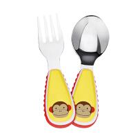 【叉勺】美国直邮 Skip Hop 婴幼儿童动物系列 卡通不锈钢叉勺组合 便携辅食训练叉+勺套装 海外购