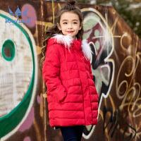 【3件3折 到手价:296.7元】水孩儿souhait女童羽绒服中长款冬装新款连帽刺绣儿童加厚外套ARADL456