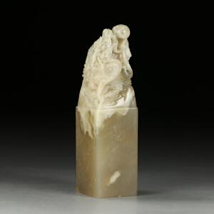 巧色巴林冻石 精雕鳌龙戏珠印章 p2255