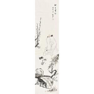 当代画家张松平四尺条人物画gr00722