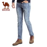 骆驼男装 2017春季新款时尚青年修身小脚牛仔裤 中腰长裤子潮男