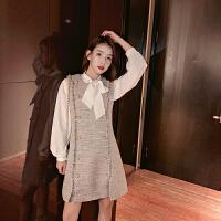 小香风套装裙女2018秋冬新款名媛衬衫加双排扣毛呢背心裙两件套