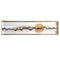 新中式装饰画横款软装样板房茶室客厅卧室沙发背景墙床头实物画 50*200 亚光黑木纹 独立