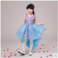 可爱甜美清新花朵婚纱女童表演服拖尾裙不规则前短后长时尚儿童礼服蓬蓬裙演出服