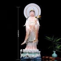 汉白玉西方三圣彩釉镶金观音佛像客厅供奉观世音菩萨阿弥陀佛站像