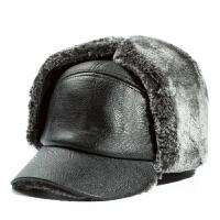 中老年帽子男冬天雷锋帽皮帽中年老人帽子冬季保暖护耳老头帽