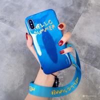 夏日海洋带挂绳苹果x手机壳软硅胶7plus潮牌iphone86s新款女 6/6S 4.7寸 鲨鱼