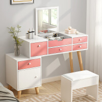 【一件3折】迷你北欧梳妆台卧室简易化妆实木简约现代小户型简约风经济型
