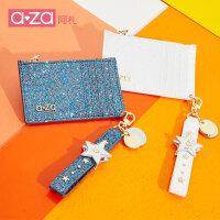 【立减100】aza2019新款钱包女短款星星铆钉手提个性迷你卡包时尚亮面零钱包