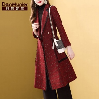 【开业狂欢 到手价:452元】丹慕妮尔红色亮丝毛呢外套女中长款2019秋冬新款格子修身呢子大衣