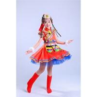 儿童少数民族演出服舞蹈服女童水袖藏族舞蹈服蒙古族舞蹈表演服装 红色 藏族