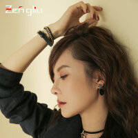 韩版皮带多层手链 女简约链条皮绳情侣首饰品时尚潮朋克黑色手环