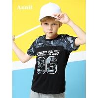 【爆款直降 满200-20】安奈儿童装男童短袖T恤夏季新款拼接纯棉男孩体恤潮EB821218