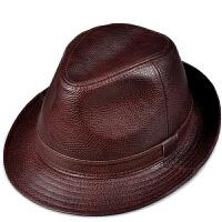 中老年人春秋款礼帽爵士绅士帽潮皮帽休闲帽真皮帽子