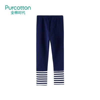全棉时代 藏青女童针织罗纹打底裤1件装